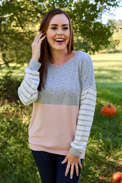Chaselynn Striped Sleeve Color Block Top - Grey/Pink - Rhinestone Leopard