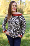 Heather Leopard Print Top with Brick Trim - Taupe - Rhinestone Leopard