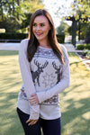 Iris Deer Thermal Top - Rhinestone Leopard