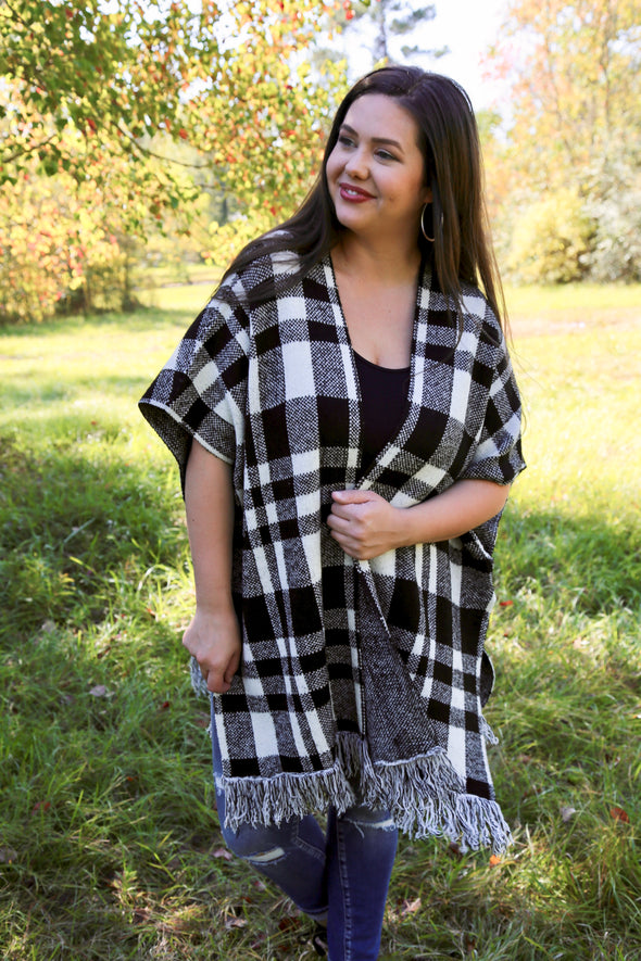 Wynona Buffalo Plaid Poncho with Fringe - Rhinestone Leopard