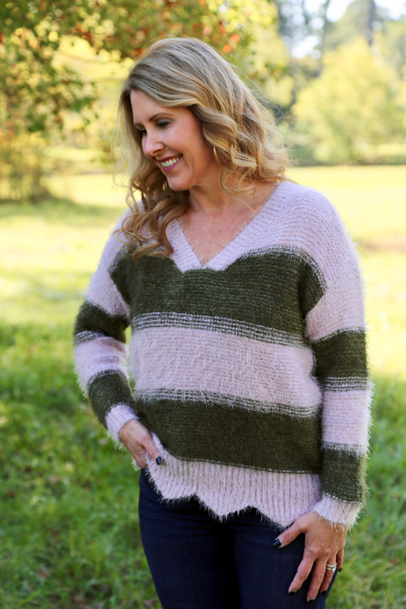 Maybelle Scallop Hem Striped Sweater - Rhinestone Leopard