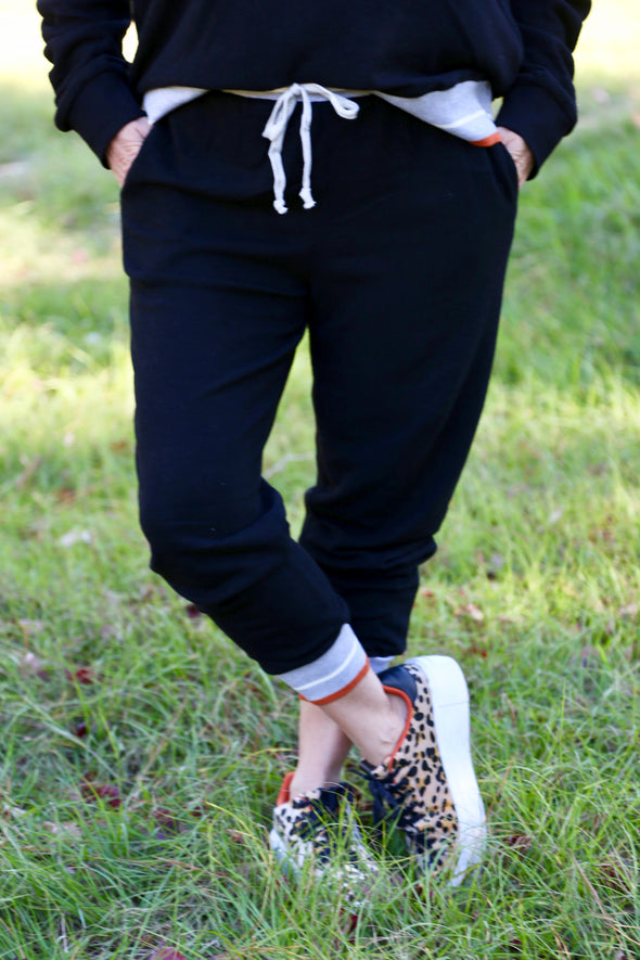 Lucille Joggers with elastic band - Rhinestone Leopard