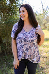 Journee Camo V Neck Top with Pocket - Rhinestone Leopard