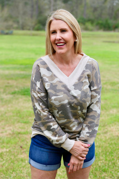 Madison Camo V Neck Banded Top - Rhinestone Leopard