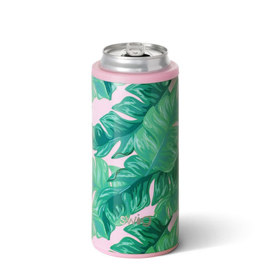 12oz Skinny Can Cooler - Palm Springs By Swig - Rhinestone Leopard