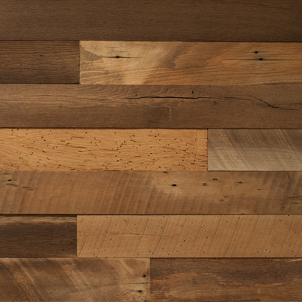 PlankWood Reclaimed Rustic Brown Barnwood - Easy Install (20ft² Bundle)