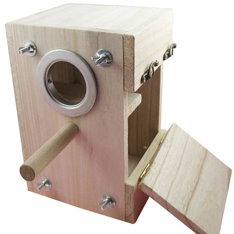 Wood Birds Nest Box Breeding Parrot Cockatiels Swallows Nest Outdoors Roof Wooden Bird House Nature wood bird box