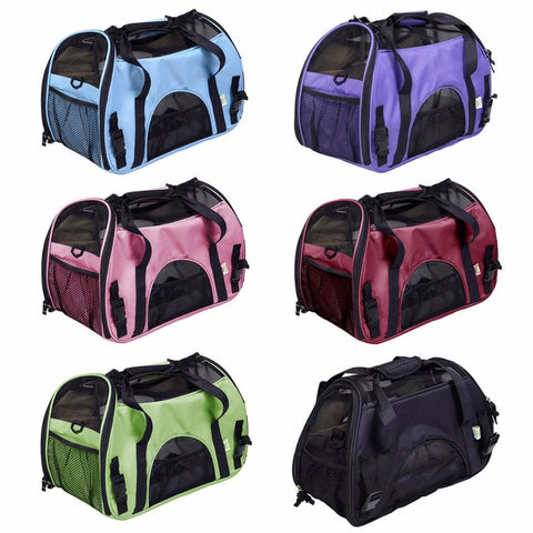 portable dog bag for small dogs Folding Mesh Breathable pet carrier bag carry for dogs cats  Inner Fleece Pad Zipped Doors
