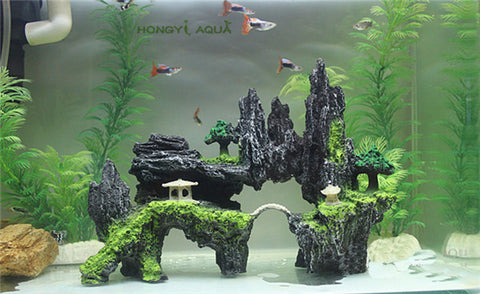 1 piece resin large/small size rockery stone fish tank landscaping aquarium decoration rockery mountain hiding cave pet supplies