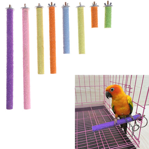 Bird Parrot Perch Stand Holder Color Emery Toys Grinding Claw Pet Cage Platform Accessories Chew Toy 10 Size Bird Supplies C42