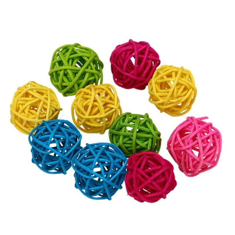 10pcs/20pcs Parrot Rattan Ball Toys Bird Chewing Grind Toys Birdcage Decor Funny Pet Supplies Cage Accessories Bird Playing Toys