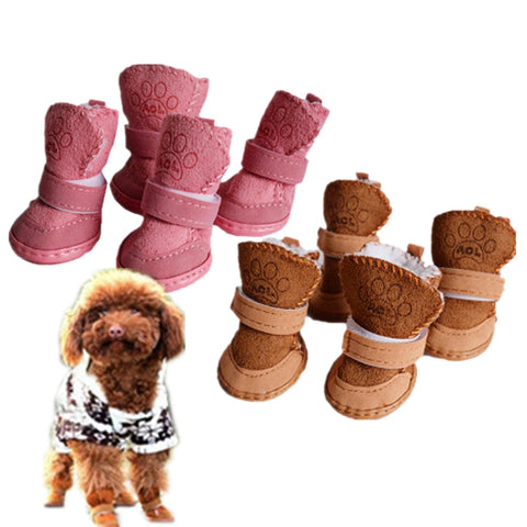 S-XXL Winter Warm Shoes for Dogs 4Pcs/Set Cute Dog Boots Snow Walking Cotton Blend Puppy Sneakers Pet Supplies Wholesale noJA18