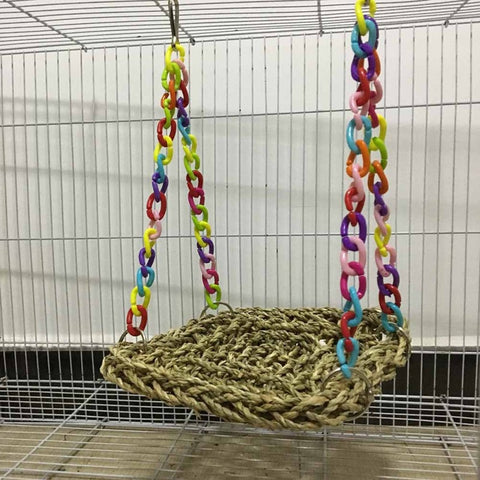 Pet Toys Parrot Swing Hammock Toy Straw Perch Platform Hanging Parrot Bird Chew Toy Bird Toy Supplies