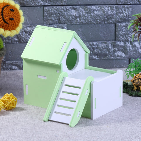 Cute Mini Small Animal Pet Hamster House Nest Rabbit Hedgehog Pet Sleeping Log Cabin Animal Sleeping House Supplies Toys Gift