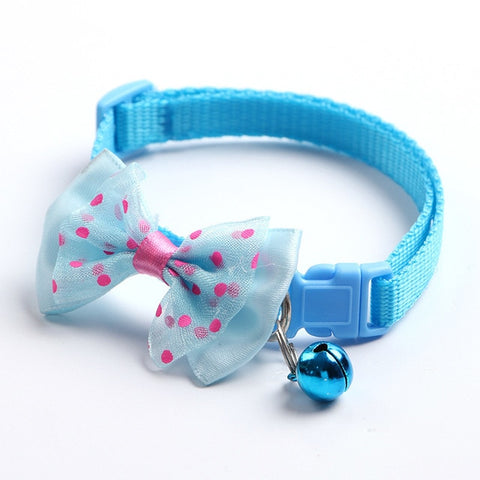 Breakaway Cat Dog Pet Collar Bell Dot Bow Butterfly Knot Cat Collar Adjustable Buckle Necklace Puppy Dog Collar Pet Supplies