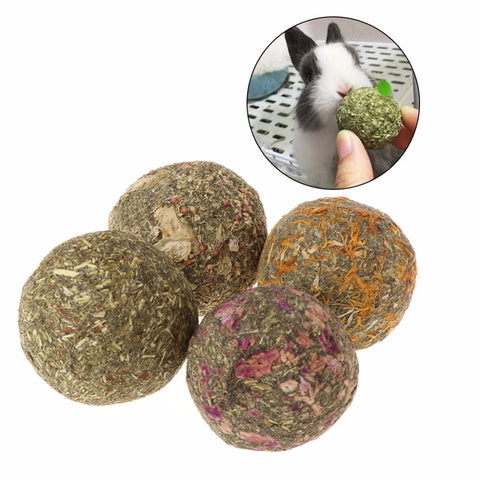 2pcs Pet Hamster Chew Teeth Grinding Ball Natural Grass Play Toys For Guniea Pig Rabbit Chinchilla Small Animals Supplies C42