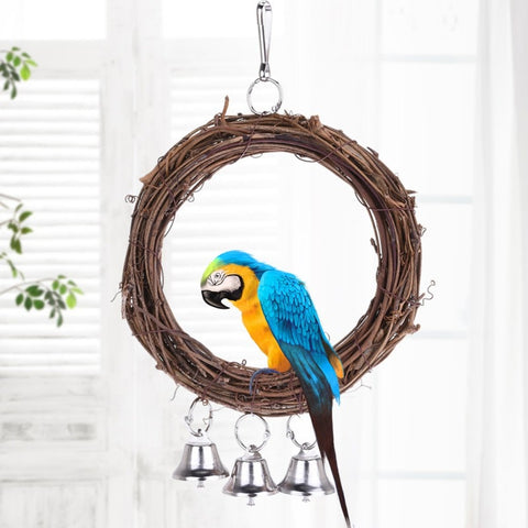 Bird Parrot Hanging Swing Rings Balls With Bells Chew Toy For Birds Standing Pet Toy Supplies Hot