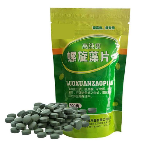 100g Fish Food Algae Tablet Shrimp Fish Feed Spirulina Tablets Aquarium Tank Pet Feed Supplies Expandable Slow  Disintegration