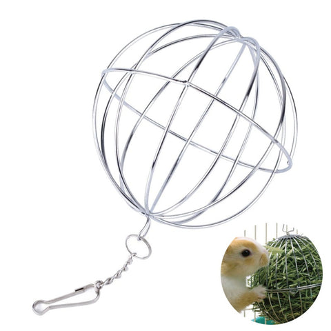 1pc Stainless Steel Round Sphere Feed Dispense Exercise Hanging Hay Ball Guinea Pig Hamster Rat Rabbit Pet Toys Supplies