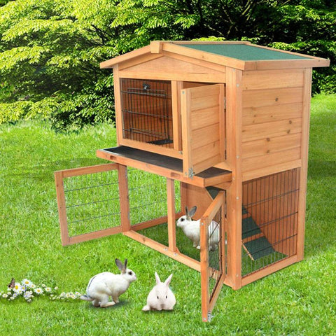 40 inch Triangle Roof Rabbit Hutch Waterproof Wooden A-Frame Small House for Chicken Pet Cage Coop