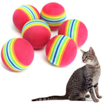 OLN Cat Supplies 3.5cm Cat Ball Toys for Puppy Cat Interactive Playing Chew Toy Rattle Scratch EVA Ball for Pet Cat Training 5pc