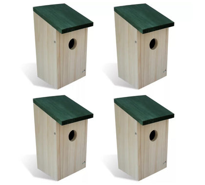 VidaXL 4 Pcs Wooden Garden Bird Cages Nests Bird House Set Wood Box Wall-Mounted Wooden Outdoor Bird Nest Birdhouse Wooden Box