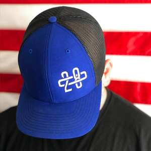 208 Blue/Black Trucker Hat Side