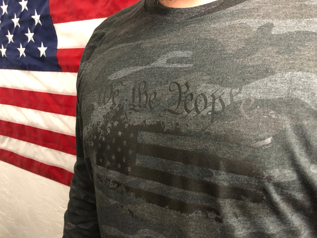 """We The People"" Storm Camo American Flag"
