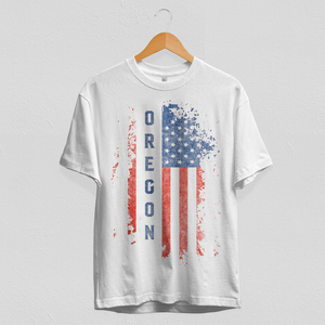 Oregon US Flag White Tee