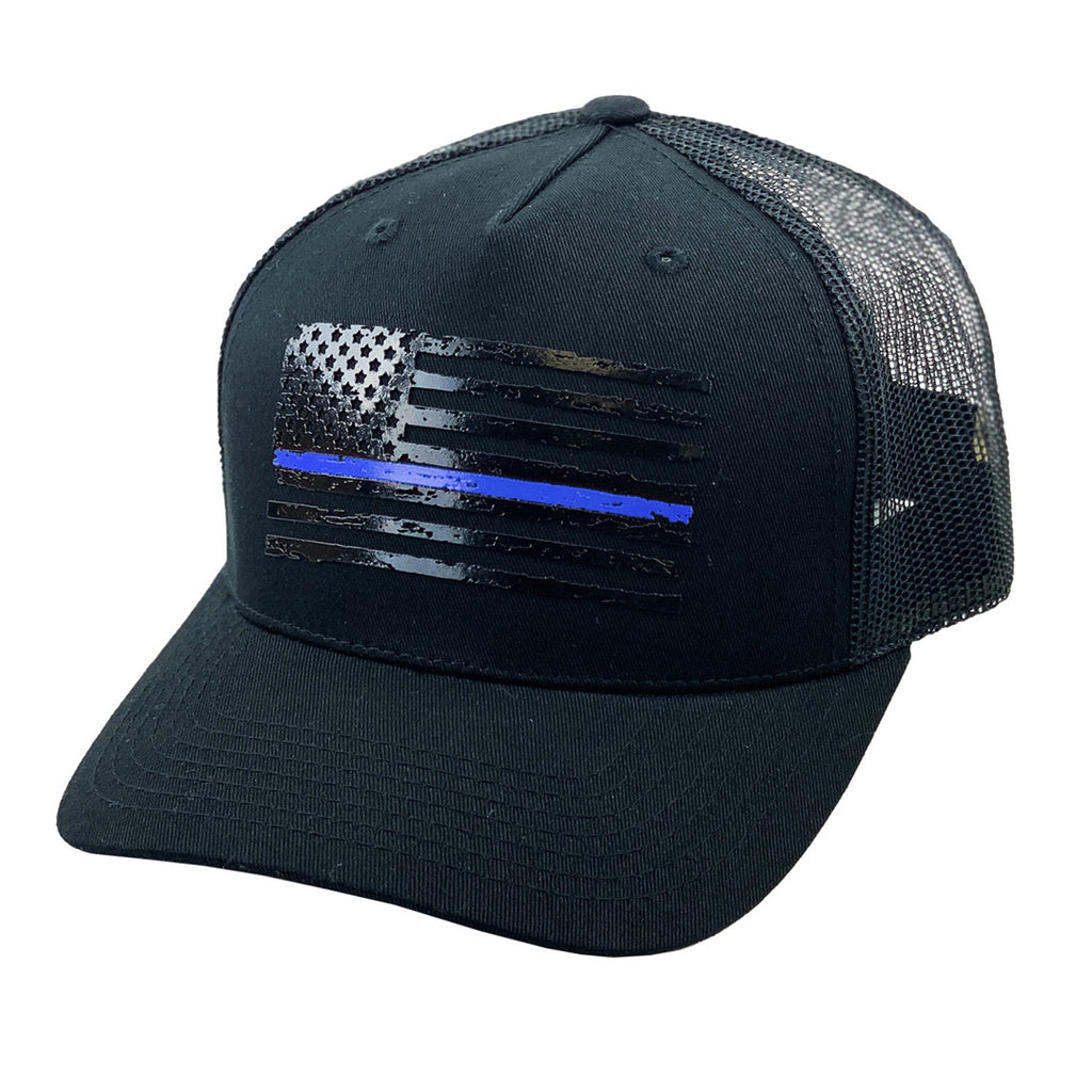 Blue Stripe Flag Black Hat