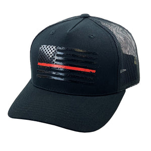 Red Stripe Flag Black Hat