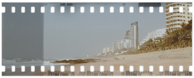 Urban structures along the beach in Durban, South Africa.