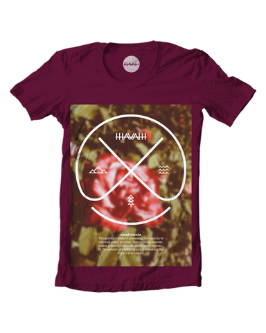 Rose Edition Round-Neck Tee in Maroon Red