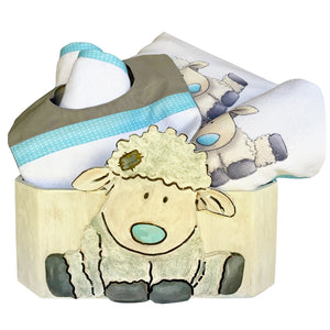 Little Lamb Baby Shower Gift Set Burp Cloth Hooded Towel Pillow Washcloth Bib