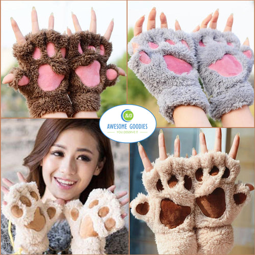 Cute Winter Fingerless Paw Plush Mittens