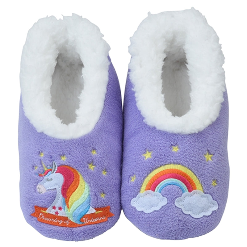 Snoozies Soft Anti Slip Unicorn Girls Shoes Socks Slippers
