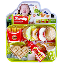 Load image into Gallery viewer, Pretend Play Cheese Hamburger Fries Waffle Milkshake Food Kitchen Toys