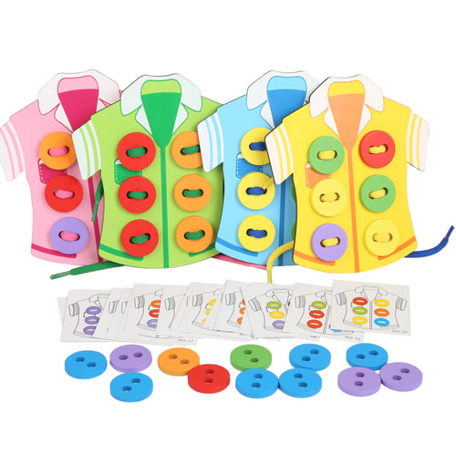 Shirts Lacing Buttons Colour Matching Kids Threading Beads Puzzle Toy