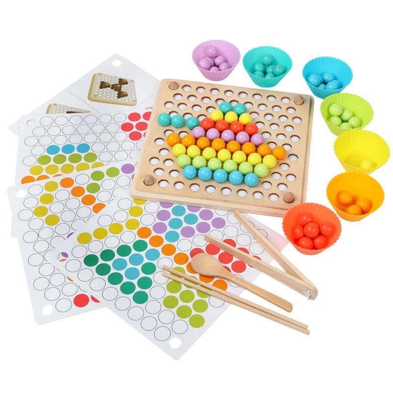 Educational Beads Holder Montessori Matching Colour Sorting Marble Puzzle