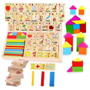 Multipurpose Math Alphabet Numbers Blocks Counting Domino Box Toy Set