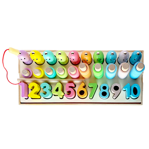 Logarithmic Montessori Numbers Ten Column Fishing Pole Kids Puzzle Board