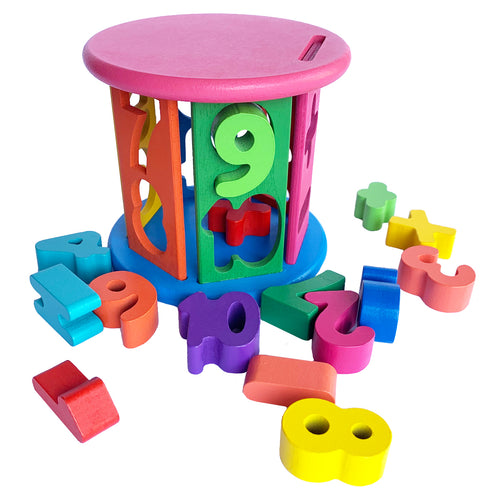 Shapes Number Matching Sorting Wheel Wooden Baby Toddler Puzzle Toy