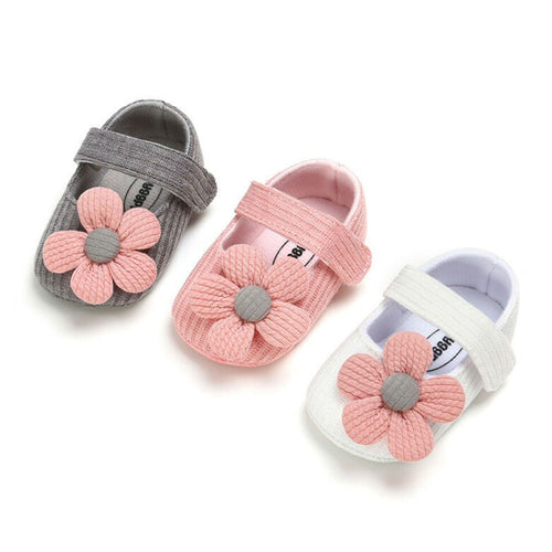 Knitted Flower Baby Girl First Walkers Soft Sole Shoes
