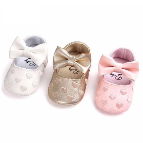 Hearts Baby Girl First Walker Soft Sole Shoes