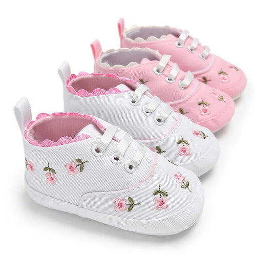Cute Baby Girl Embroidered Flower First Walker Sneakers Shoe Summer