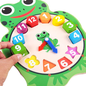 Wooden Cartoon Clock Shapes Educational Time Telling Kids Puzzle