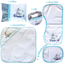 Load image into Gallery viewer, Little Lamb Baby Shower Gift Set Burp Cloth Hooded Towel Pillow Washcloth Bib
