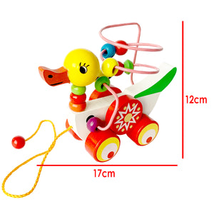 Wooden Educational Duck Wire Beads Maze Puzzle Pull Car Toy