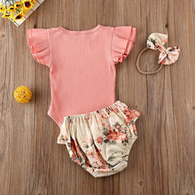 Load image into Gallery viewer, Floral Baby Girl Ruffled Romper Vest Nappy Pants Headband Set