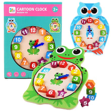 Load image into Gallery viewer, Wooden Cartoon Clock Shapes Educational Time Telling Kids Puzzle